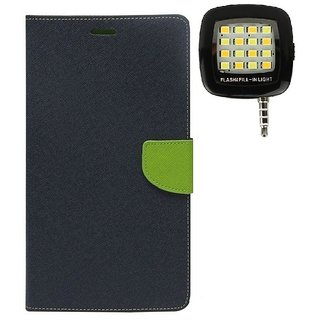 YGS Premium Diary Wallet Mobile Case Cover For  Micromax Canvas Fire 4 A107-Blue With Photo Enhancing Flash Light