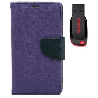 YGS Premium Diary Wallet Mobile Case Cover For  Micromax Canvas Juice 2 AQ5001-Purple With Sandisk Pen Drive 8GB