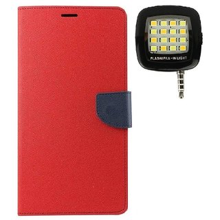 YGS Premium Diary Wallet Case Cover For Sony Xperia Z1-Red With Photo Enhancing Flash Light