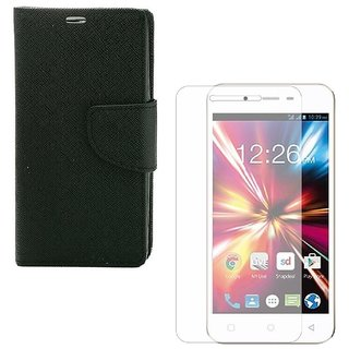 YGS Premium Diary Wallet Mobile Case Cover For  Micromax Canvas Fire 4 A107-Black With Tempered Glass