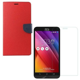 YGS Premium Diary Wallet Case Cover For Asus Zenfone 2 ZE551ML-Red With Tempered Glass