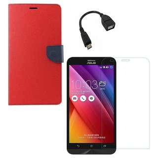 YGS Premium Diary Wallet Case Cover For Asus Zenfone 2 ZE551ML-Red With Tempered Glass and Micro  With Micro OTG