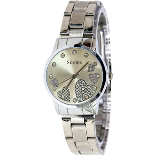 Sooms Stainless Steel and Heart Designer Analog Watch For Women