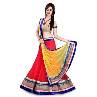 Colour of rina NEW FANCY BOLLYWOO STYLISH RED-GREEN LEHENA CHOLY