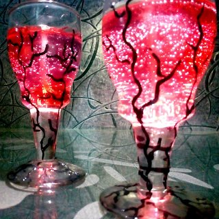 Set Of 4 Red Scented Gel Candle With Hand Painted Glass For Home Decoration, Diwali And Gift - Free One Time Refill