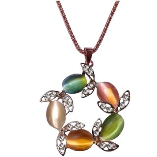 Multicolour Floral Design Pendant Long Chain Necklace for Women - 680