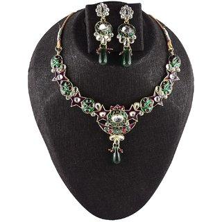 Fluck Acrylic Gold Plating kundan/Meenakari Studded Multi Coloured Necklaces Set