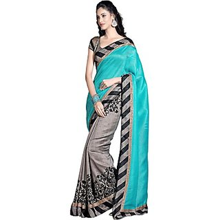 Maruti MR002 Georgette Causal Wear Sky Blue and Gray Saree