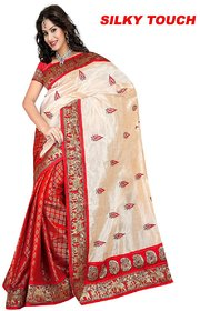SVB Red Chanderi Embroidered Saree With Blouse