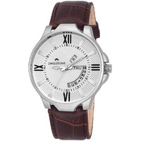 Swisstone WHT105-WHT-BRW Day And Date White Dial Brown