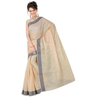 Fabplus Grey Cotton Block Print Saree With Blouse