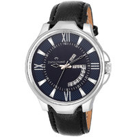 Swisstone WHT105-BLU-BLK Day And Date Blue Dial Black Leather Strap Watch For Men/Boys