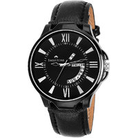 Swisstone BLK105-BLACK Day And Date Black Dial Black Leather Strap Watch For Men/Boys