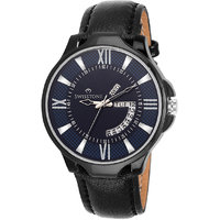 Swisstone BLK105-BLU-BLK Day And Date Blue Dial Black Leather Strap Watch For Men/Boys