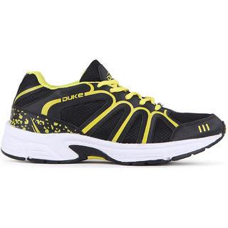 Duke Mens Black,Yellow Lace-up Running Shoe