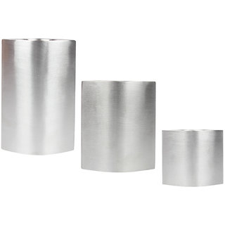 Plush Plaza Silver Stainless Steel Los Ojos Tea Light Holder - Pack of 3