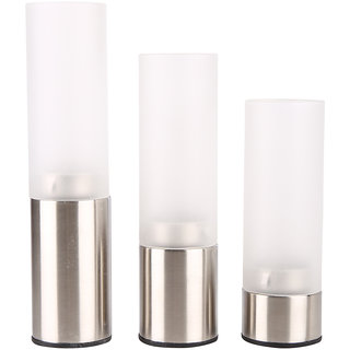 Plush Plaza Silver Stainless Steel Base With Frosted Glass Top Tea Light Holders - Pack of 3