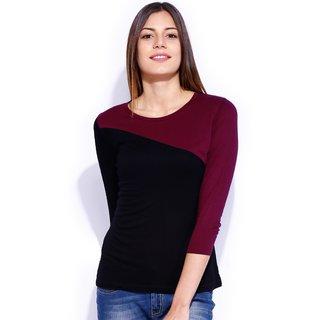 Tarama Black  Burgundy Color Top For Women