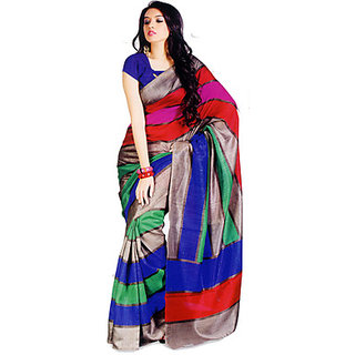 Merry Printed Bhagalpuri Multicolour Cotton, Silk Sari