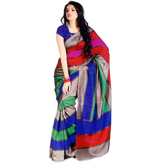 Makekartz Printed Bhagalpuri Silk Cotton Blend Sari