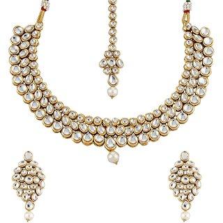 Biyu Latest Design Kundan Pearl Choker Gold Plated Necklace Set