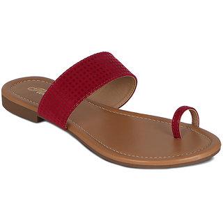 Flora Suede Red Flat Sandal
