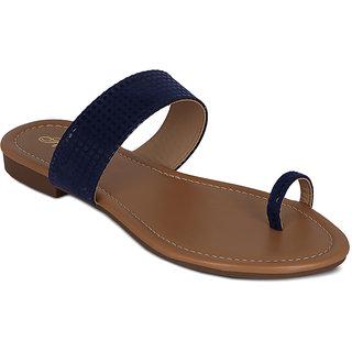 Flora Suede Blue Flat Sandal