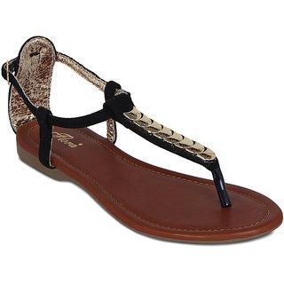 Flora Black Comfort Suede Sandal
