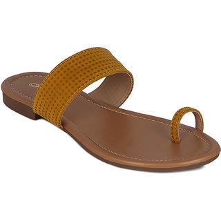 Flora Suede Yellow Flat Sandal
