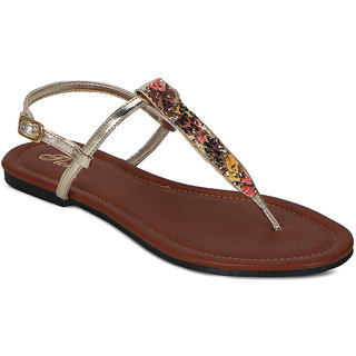 Flora Multi Red Flat Sandal
