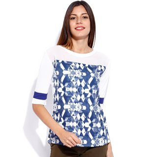 Tarama Blue  White Color Top For Women