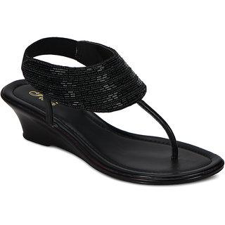 Flora Black Embrodiery Heeled Sandal