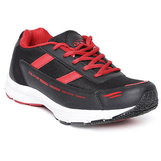 Duke Mens Black,Red Lace-up Running Shoe