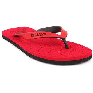 Duke Mens Red,Black Flip Flops