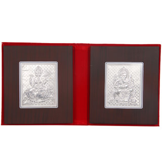 Silverwala 999 Pure Silver Ganesha and laxmi Wodden Foldable Photo Frame (1513.5)