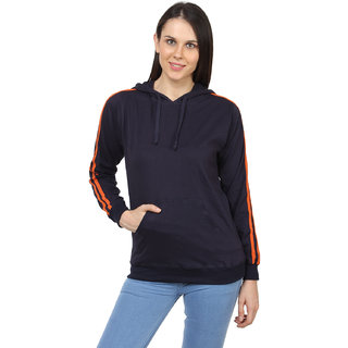 SayItLoud Womens Solid Full Sleeve Hooded Sweatshirt