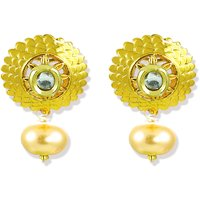 Zaveri Pearls Gold Floral Kundan with Pearl Drop Earrings-ZPFK5253