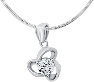 Shiyara Jewells CZ Sterling Silver White Twist Flower Pendant with Chain For Women(PS701025C)