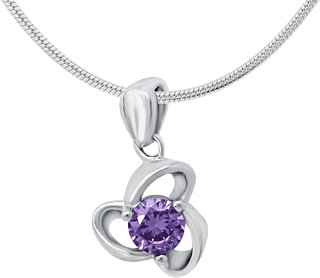 Shiyara Jewells CZ Sterling Silver Purple Twist Flower Pendant with Chain For Women(PS701026C)