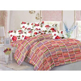 Welhouse Orange  Stripes Design Color Fastness Cotton Double Bedsheet with 2 CONTRAST Pillow Cover-Best TC-175