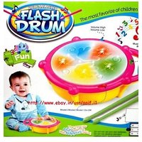 Musical Flash Drum With 2 Sticks Light Sound Battery Operated Gift Toy For Kids