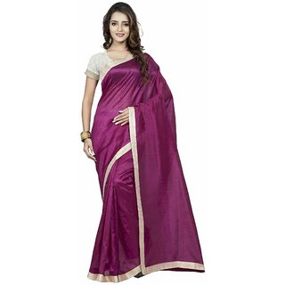 Swaron Maroon Silk Plain Saree With Blouse