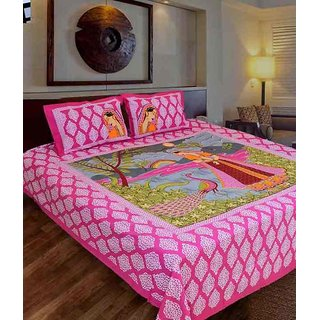 Handloom Papa Pink Cotton Double Bedsheet With 2 Pillow Covers(More3)