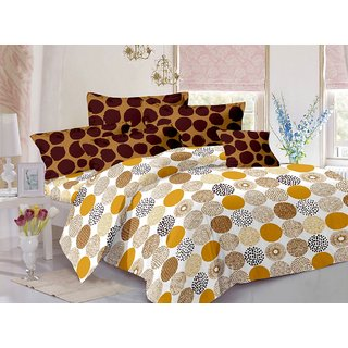 Welhouse Brown  Polka Design 100 Cotton Double Bedsheet with 2 CONTRAST Pillow Cover-Best TC-175