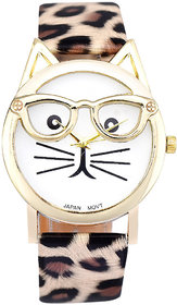 Cute kitty Face Dial Leopard Print Strap Analog Watch - For Women, Girls