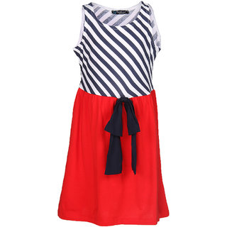 Cool Quotient Girls Red Bias Striper Jersey Dress