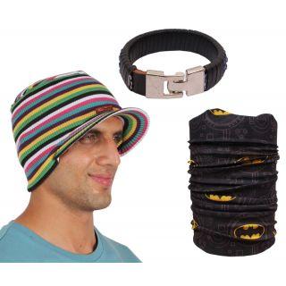 Sushito Fancy Multi Colour Winter Protect Beanies Cap With Bandana  Wrist Band JSMFHCP1548-JSMFHWB0965-JSMFHMA0672
