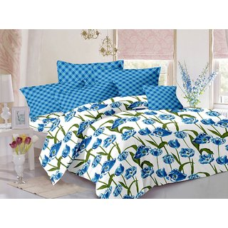 Welhouse Blue  Floral Design 100 Organic Double Bedsheet with 2 CONTRAST Pillow Cover-Best TC-175