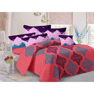 Welhouse Peach  Traditional Design Skin Friendly Double Bedsheet with 2 CONTRAST Pillow Cover-Best TC-175