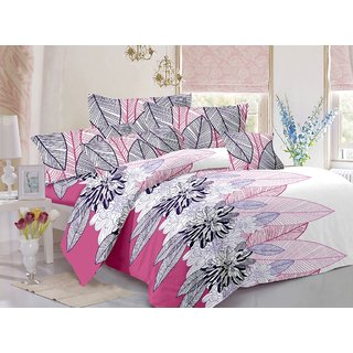 Welhouse Grey  Floral Design 100 Cotton Double Bedsheet with 2 CONTRAST Pillow Cover-Best TC-175